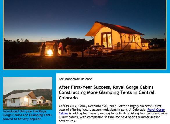 New Glamping Tent Press Release